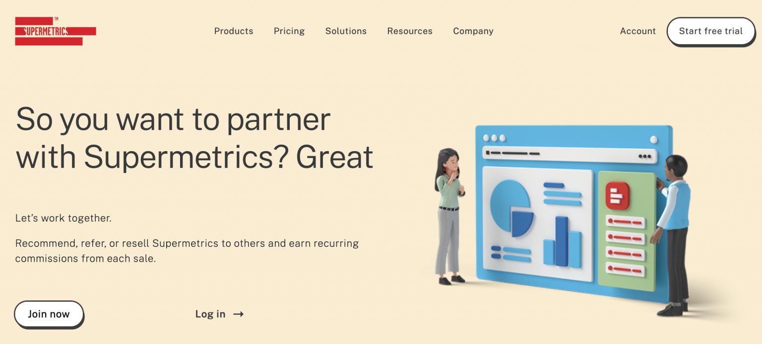 Supermetrics partnership landing page