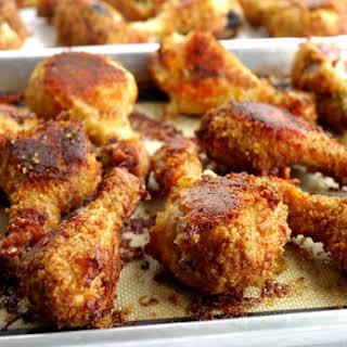 Potato Chip-Bisquick Oven Fried Drumsticks.
