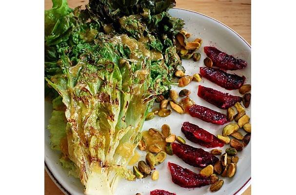 Grilled Red Leaf Lettuce Salad with Blood Orange, Pistachio, and Roasted Garlic Vinaigrette Recipe