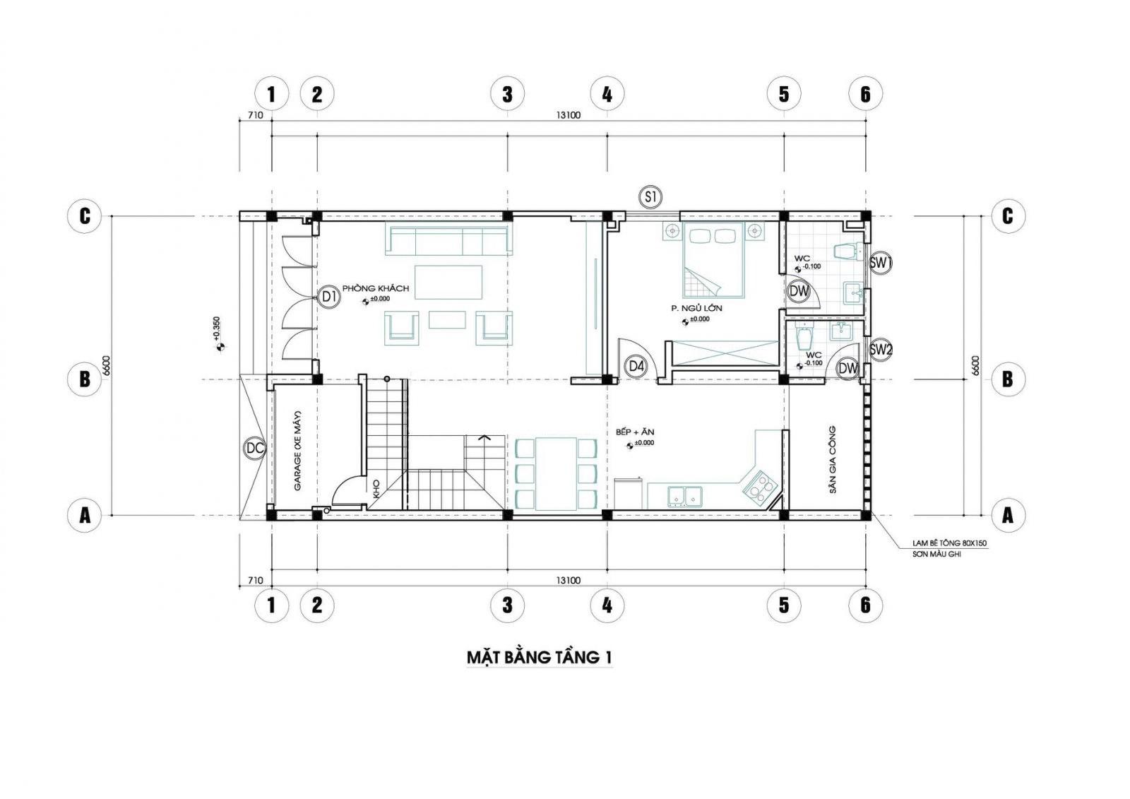 Mặt bằng tầng 1 mẫu nhà 2 tầng 3 phòng ngủ