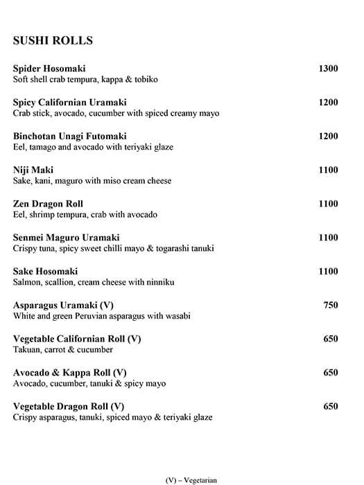 Zen, The Leela Palace menu 7
