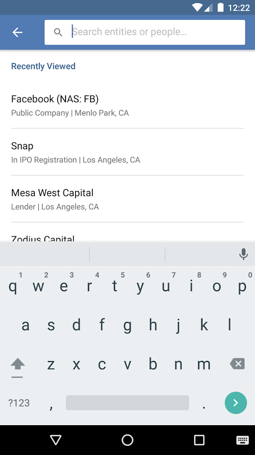 PitchBook Mobile- screenshot