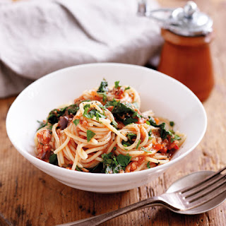 Spaghetti With Tuna And Wilted Spinach.