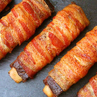 DOUBLE SMOKED BACON WRAPPED RIBS.