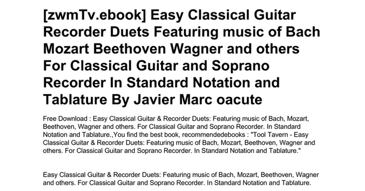 Easy Bach For Guitar