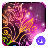Beautiful neon colorful flowers theme & wallpaper