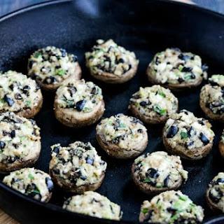 Stuffed Mushrooms Recipe with Feta Cheese and Kalamata Olives.