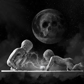Boys will be boys by Brad Cheek - Digital Art People ( moon, lightening, boys, smoke, globe )