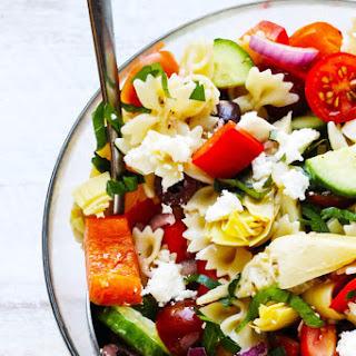 Farfalle Pasta Salad Mediterranean Style.