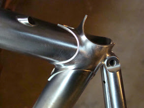 Photo: Finished seat lug with fastback stays and internal top tube cable routing.