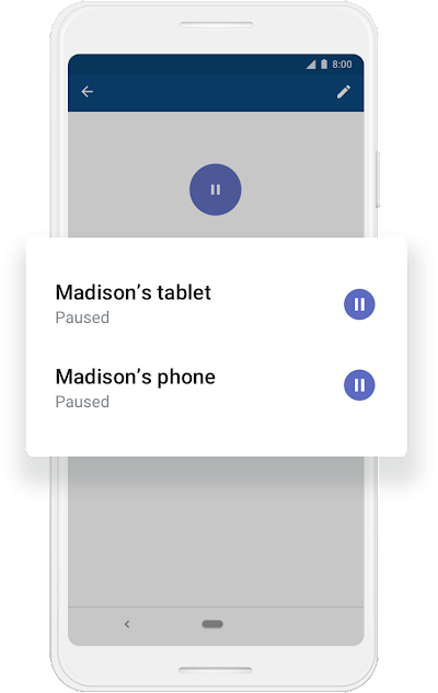 "A Google phone screen showing ""Madison's tablet"" and ""Madison's phone"" have been paused."