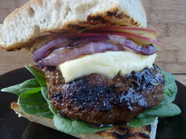 Apple Pancetta Manchego Burgers On Balsamic Greens Recipe