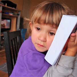 Hard day in a school... by Svetlana Saenkova - Babies & Children Child Portraits ( book, violet, classroom, girl,  )
