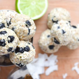Coconut-Lime and Blueberry Energy Balls.