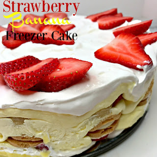 Strawberry Banana Freezer Cake.