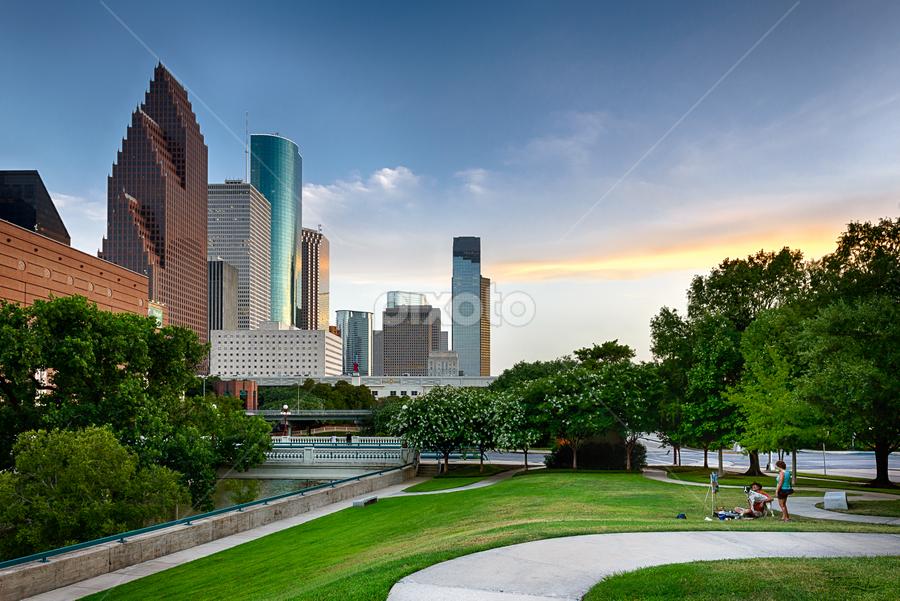 Houston Skyline Painter with Dog by Dee Zunker - City,  Street & Park  Skylines ( buffalo bayou, animals, houston, texas, reflections, photowalk 20130622, usa, houston skyline, secquicentennial park, sunset, buildings, trees, painter, dog, time relative, hps, downtown )