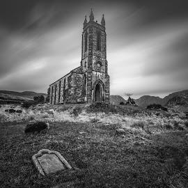 by John Holmes - Black & White Buildings & Architecture ( sky, dunlewey, posion glen, graveyard, mountains, church abandoned, tree, headstone )