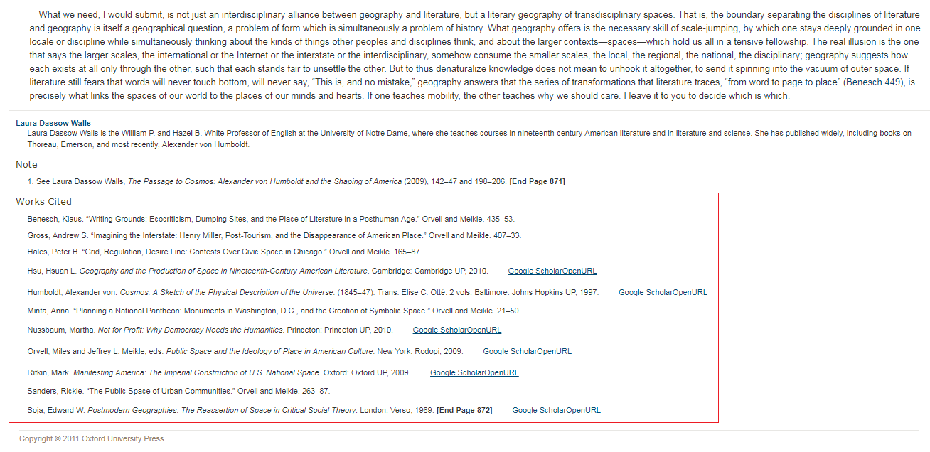 Sample of an article with Works Cited list highlighted