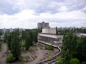 Photo: Pripyat centre from the old hotel balcony