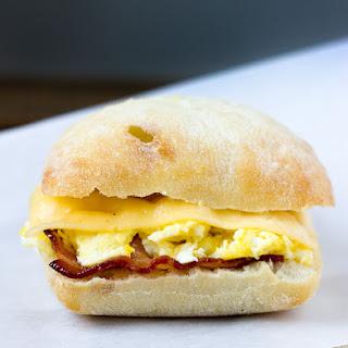 Bacon, Egg, and Gouda Breakfast Sandwich.