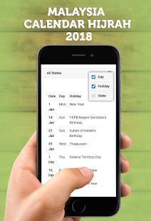 Malaysia Calendar Hijrah 2018 - náhled