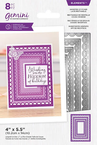 Gemini Elements Die - Inverted Stitched Lace Rectangle