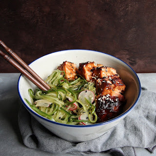 "Cucumber ""Noodle"" & Radish Salad with Miso Salmon"