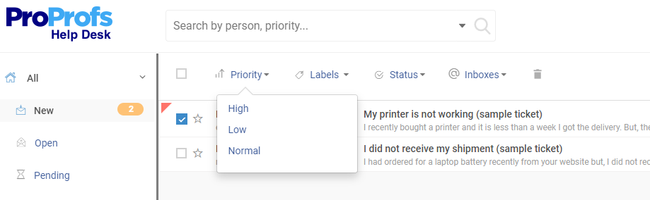 Shared inbox allow prioritize tickets with labels