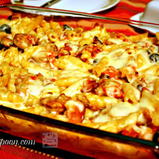 Sausage and Pasta Bake with Bacon and Olives.