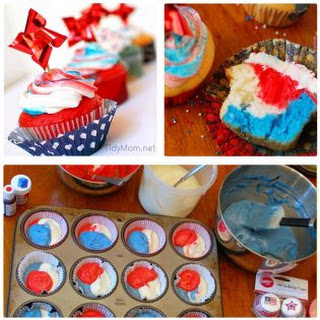 Red White and Blue Cupcakes.