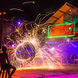 Nightlife at Phi Phi island by Valliappan Chellappan - Abstract Fire & Fireworks ( abstract, danger, light, fire, fireshow )