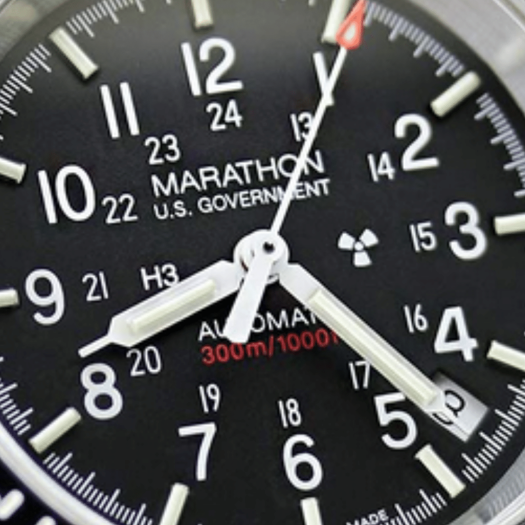 Close up photo of the dial of a Marathon watch