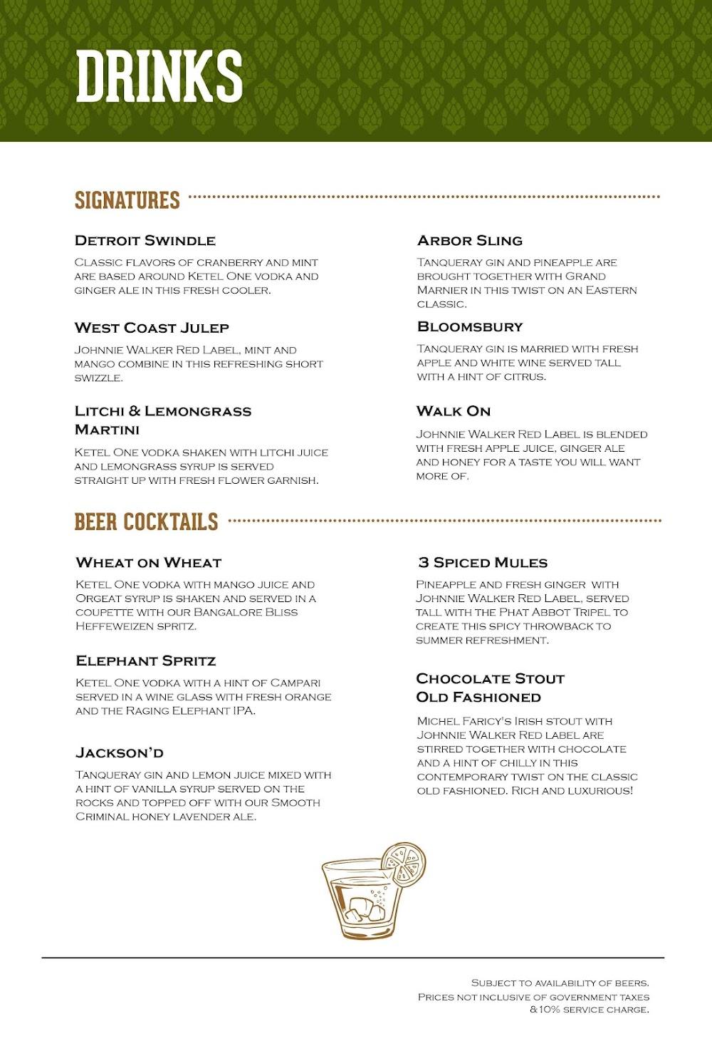 Arbor Brewing Company menu 2