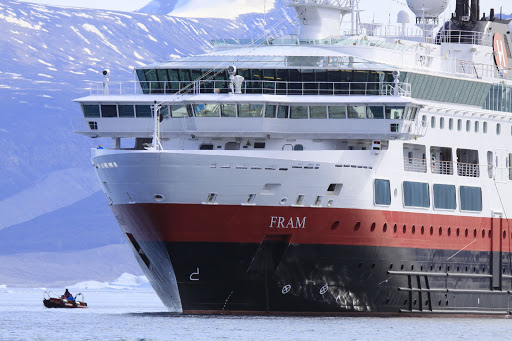 Hurtigruten's expedition ship Fram in Disko Bay, Greenland.