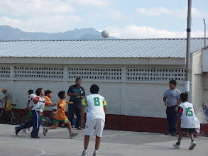 Photo: Recess at a local boy's school - soccer game in progress.