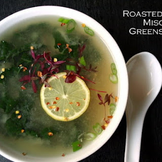 Roasted Garlic, Miso and Greens Soup