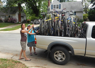 Photo: Selina and Wendy with bikes for troop 1999