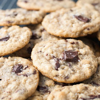 Dark Chocolate Chunk Oatmeal Peanut Butter Cookies w/ Sea Salt