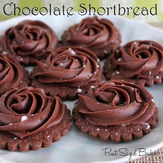 Chocolate Shortbread Rose Cookies