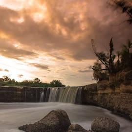 Parigi waterfall by Arif  Arfidiyanto - Landscapes Sunsets & Sunrises ( #smoothwater #longexposure #sunset )
