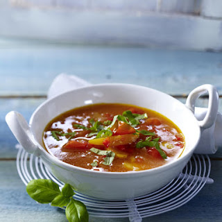 Tomato and Pepper Soup with Apricot and Basil.