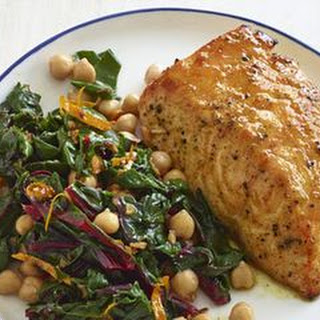 Curried Salmon with Chard and Chickpeas.