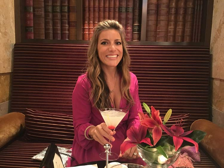 Shannon with a pricey but satisfying cocktail at the Imperial Hotel.