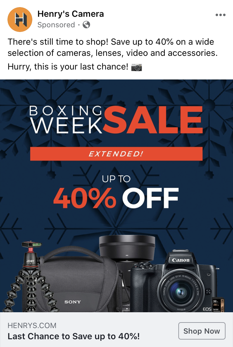 A picture of a Facebook Photo ad from Henry's Camera advertising their boxing week sale