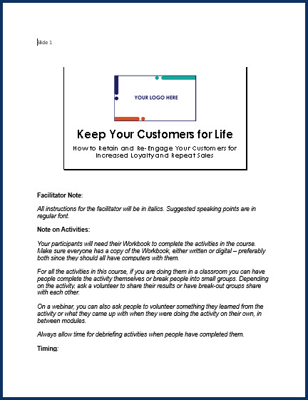 Keep Your Customers For Life - SpeakerNotes