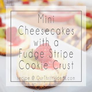 Fudge Stripe Cookie Crust Mini Cheesecakes.