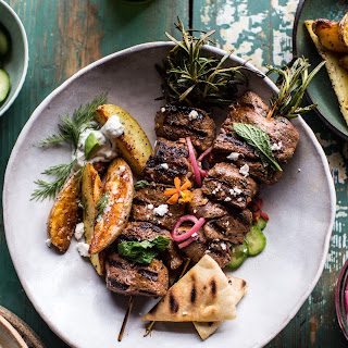 Greek Lamb Souvlaki Plates with Avocado Tzatziki.
