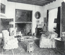 Photo: A room in Aldie Castle. Though this photo was taken in the 1960's, it does represent a timeless look and could suit a Miss Marple cottage. This was a photo in Scottish Country Houses and Castles, by George Scott-Moncreiff, which I aquired  around 1970. Most of the pictures show chairs covered in slipcovers of similar design. Most of the rugs are old and threadbare, and furniture is of assorted centuries and styles.