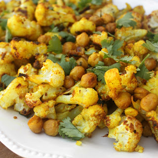 Roasted Cauliflower and Chickpeas With Turmeric and Cilantro