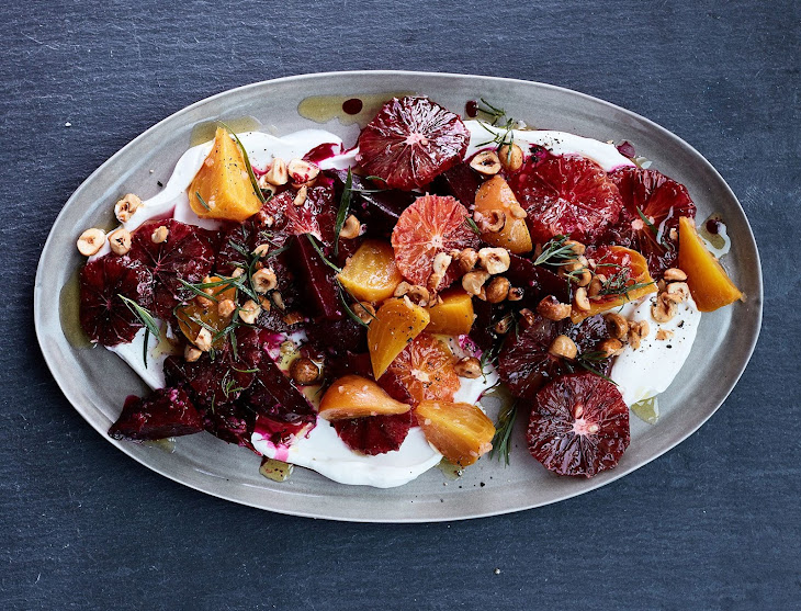 Blood Orange and Roasted Beets with Yogurt, Tarragon, and Hazelnuts Recipe